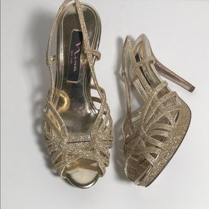 Nina Gold Sparkle Heels size 6 Holiday Party